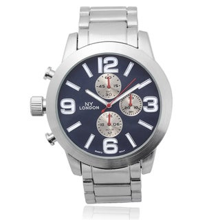 Geneva Platinum Men's Stainless Steel Round Face Link Watch