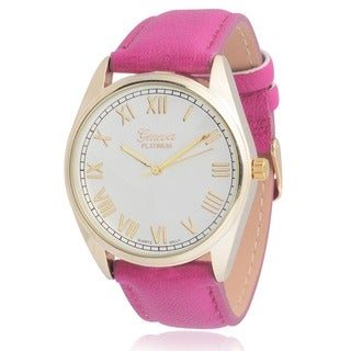 Geneva Platinum Women's Faux Leather Round Dial Watch