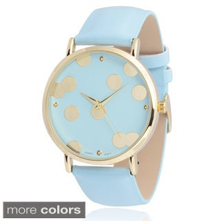 Geneva Platinum Women's Faux Leather Round Face Watch