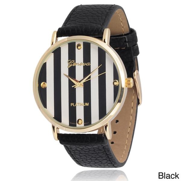 Geneva Platinum Women's Faux Leather Striped Dial Watch