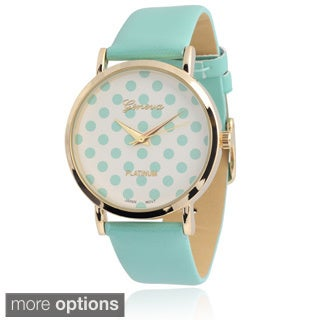 Geneva Platinum Women's Polka-dot Dial Watch