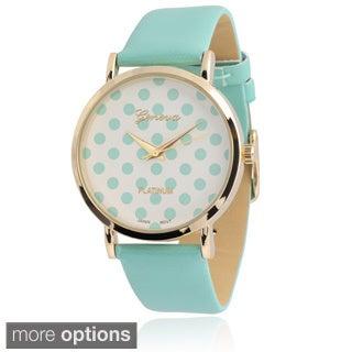 Geneva Platinum Women's Polka-dot Dial Watch
