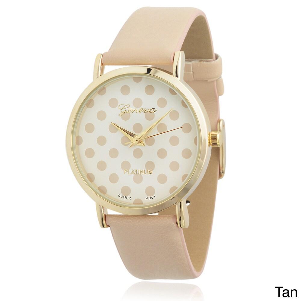 af2607f7a Shop Geneva Platinum Women's Polka-dot Dial Watch - Free Shipping On ...