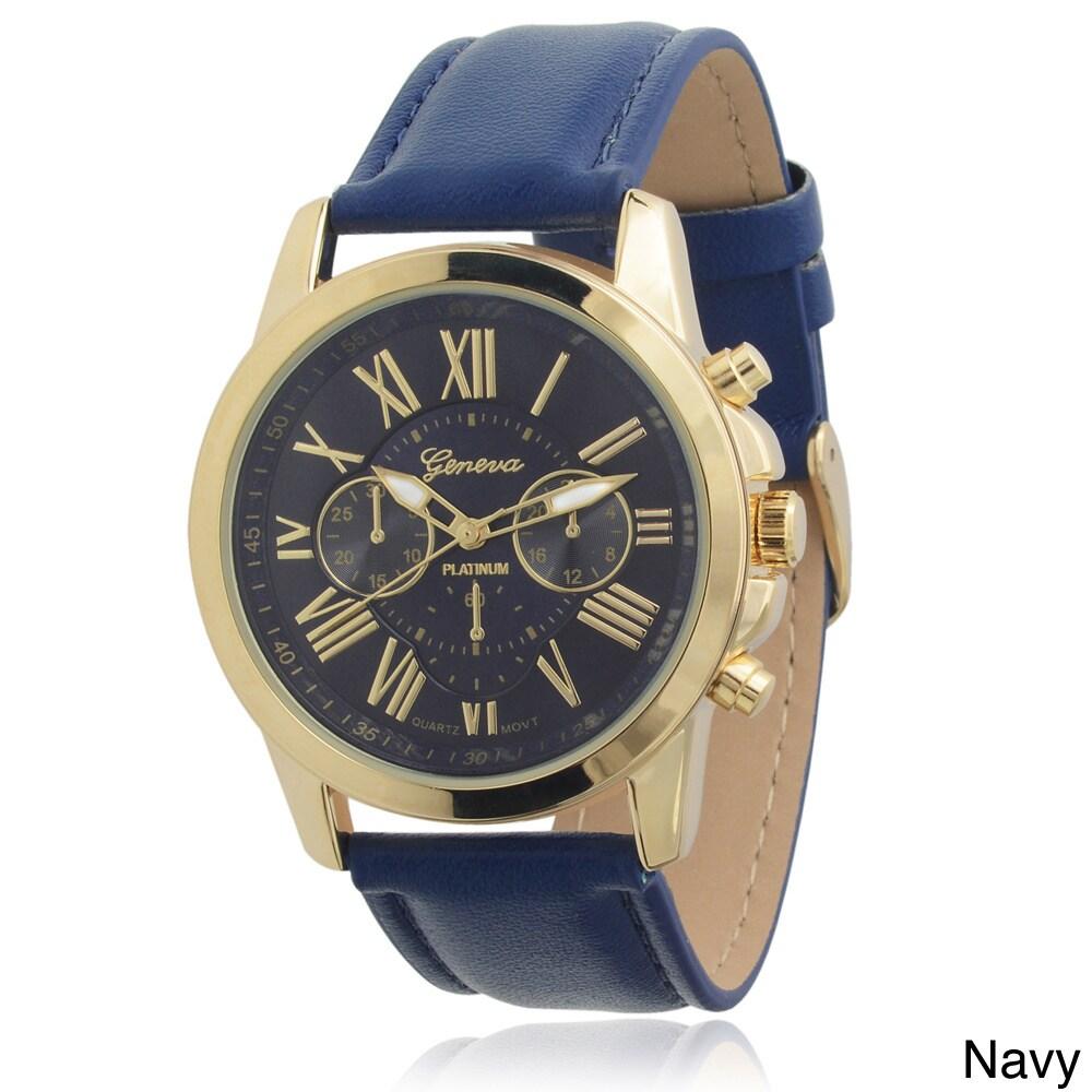 Geneva Women's Faux Leather Chronograph Watch (Navy), Blu...