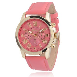 Geneva Platinum Women's Faux Leather Chronograph Watch