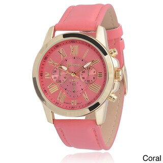 Geneva Platinum Women's Faux Leather Chronograph Watch (2 options available)
