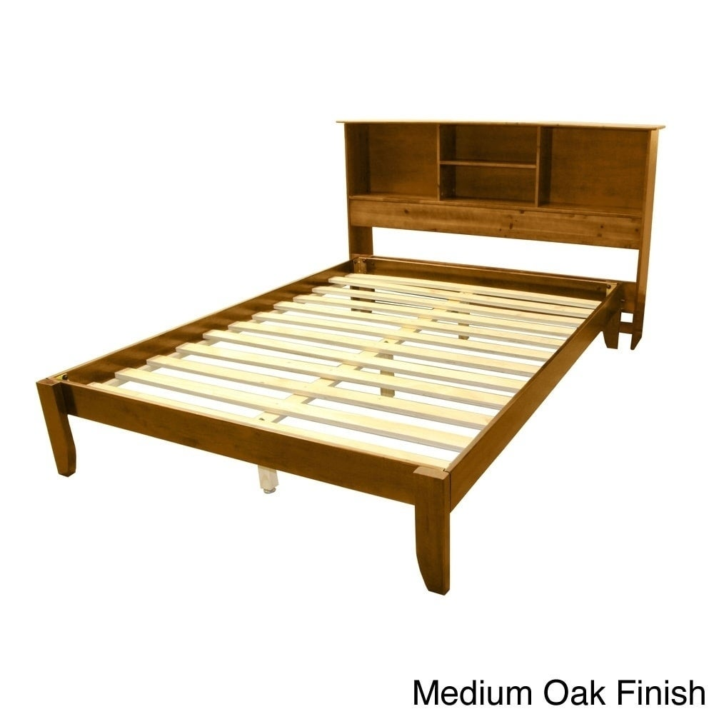 promo code 48fcd 195ba Scandinavia Queen-size Solid Wood Tapered Leg Platform Bed with Bookcase  Headboard
