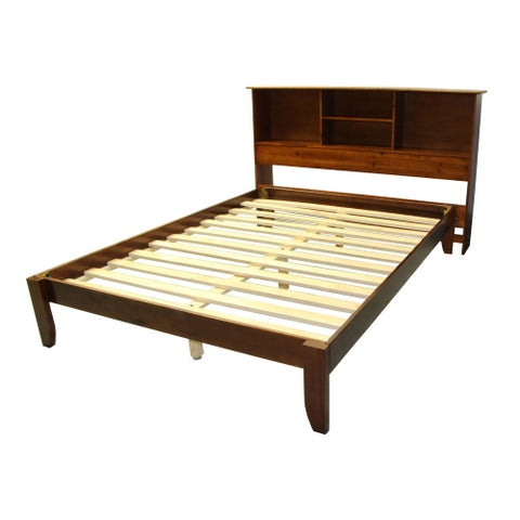 Scandinavia Full-size Solid Bamboo Wood Platform Bed with Bookcase-style Headboard