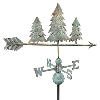 Pine Trees Blue Verde Copper Weathervane by Good Directions