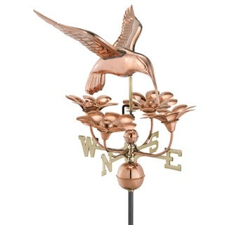 Hummingbird with Flowers Pure Copper Weathervane by Good Directions