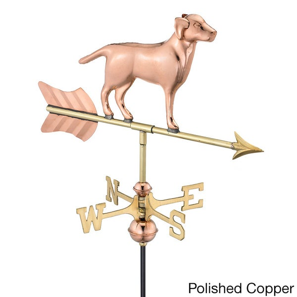 Labrador Retriever Pure Copper Garden Weathervane with Garden Pole by Good Directions