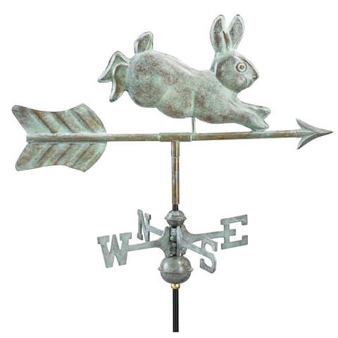 Rabbit Blue Verde Copper Garden Weathervane with Garden Pole by Good Directions