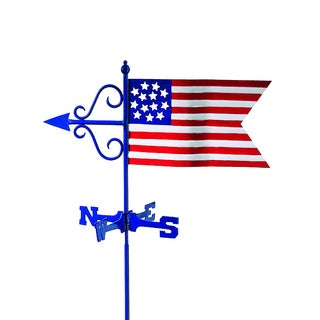 Americana Flag Garden Weathervane with Garden Pole by Good Directions