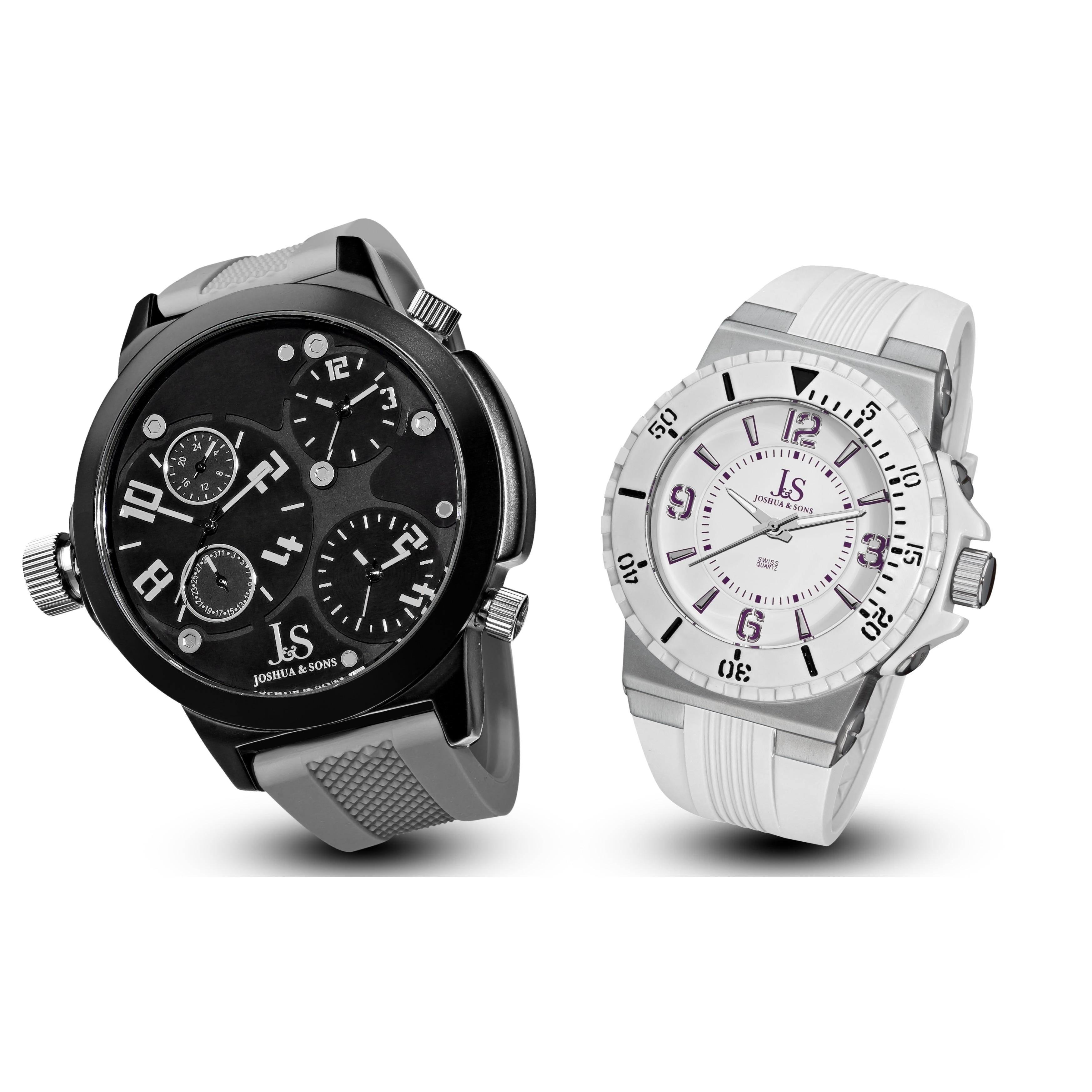 J&S Men's Minute Track, Multifunction Strap Watch Set (Se...