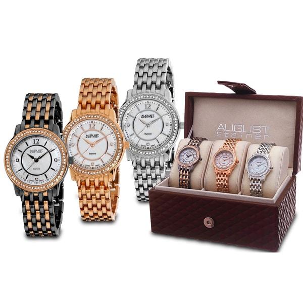 August Steiner Women's Dazzling Diamond Bracelet Watch Set with FREE Bangle