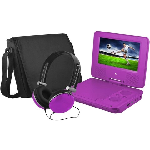 """Ematic EPD707 Portable DVD Player - 7"""" Display - 480 x 234 - Purple"""