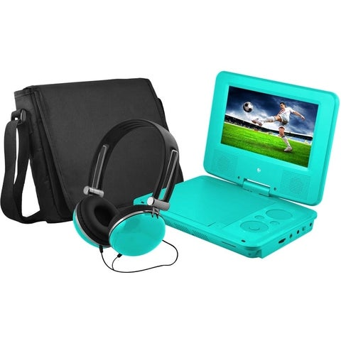 """Ematic EPD707 Portable DVD Player - 7"""" Display - 480 x 234 - Teal"""