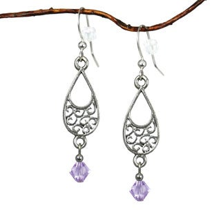 Jewelry by Dawn Pewter Filigree Teardrop Violet Crystal Dangle Earrings