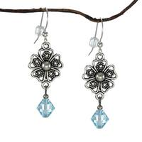 Jewelry by Dawn Pewter Four Petal Filigree Aquamarine Crystal Drop Earrings