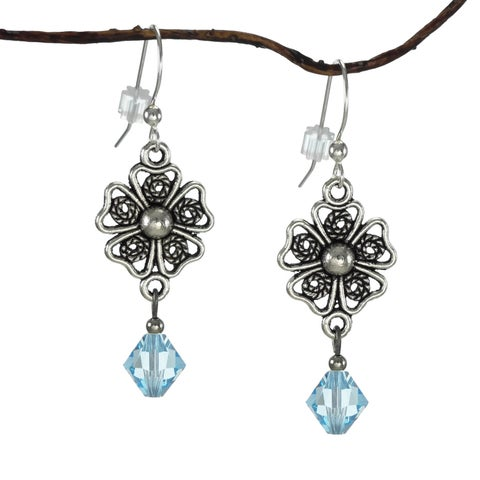Handmade Jewelry by Dawn Pewter Four Petal Filigree Aquamarine Crystal Drop Earrings (USA)
