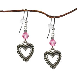 Jewelry by Dawn Pewter Open Heart Pink Crystal Dangle Earrings