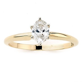 Neda Behnam 14k Yellow Gold 1/2ct TDW Oval Solitaire Ring