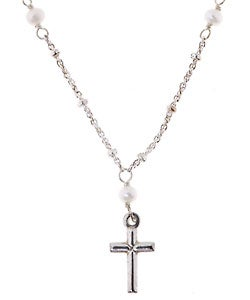 Sterling Essentials Sterling Silver Cross with Silver & Pearl Chain Necklace