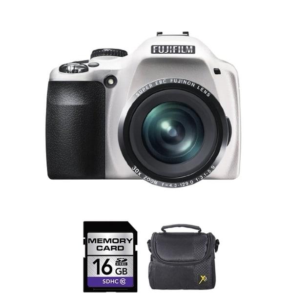 Fujifilm FinePix SL300 14MP White Digital Camera 16GB Bundle