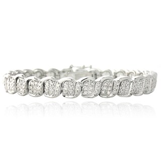 DB Designs Silvertone 1/2 Ct TDW White Diamond S and Oval Link Bracelet