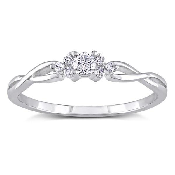 Miadora 10k White Gold 1/6ct TDW Diamond Ring with Bonus Matching Band