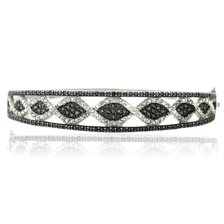 DB Designs Silvertone 1ct TDW Black and White Diamond Bangle Bracelet