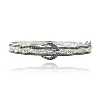 DB Designs Silvertone 1/2ct TDW Black and White Diamond Buckle Bangle Bracelet (I-J, I2-I3)