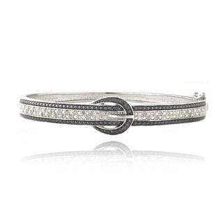 DB Designs Silvertone 1/2ct TDW Black and White Diamond Buckle Bangle Bracelet