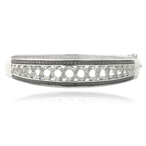 DB Designs Silvertone 1/2ct TDW Black and White Diamond Bangle Bracelet