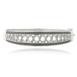 DB Designs Silvertone 1/2ct TDW Black and White Diamond Bangle Bracelet