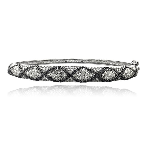 DB Designs Silvertone 1/2ct TDW Black and White Diamond Criss Cross Bangle Bracelet