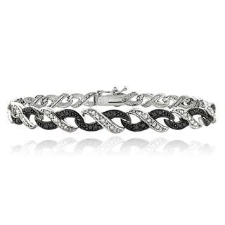 DB Designs Silvertone 1/2ct TDW Black and White Diamond Infinity Bracelet (I-J, I2-I3)