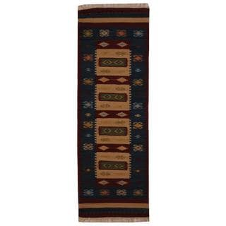 Herat Oriental Indo Hand-woven Turkish Kilim Ivory/ Red Wool Rug (2'6 x 8')