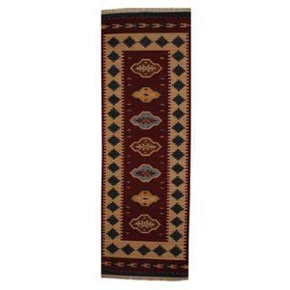 Handmade Turkish Wool Kilim Runner (India) - 2'6 x 8'