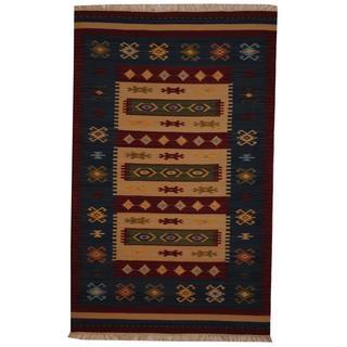 Herat Oriental Indo Hand-woven Turkish Wool Kilim Rug (5' x 8')