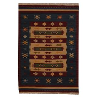 Herat Oriental Indo Hand-woven Turkish Wool Kilim (4' x 6')