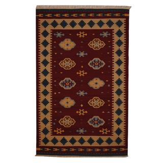 Herat Oriental Indo Hand-woven Turkish Wool Kilim (5' x 8')