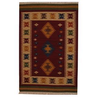 Herat Oriental Indo Hand-woven Turkish Kilim Red/ Ivory Wool Rug (4' x 6')