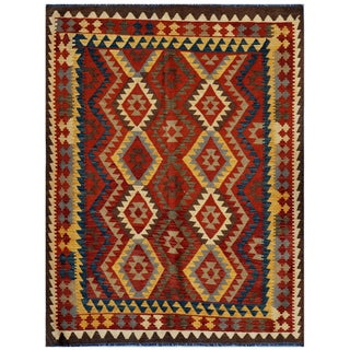 Herat Oriental Afghan Hand-woven Kilim Red/ Gold Wool Rug (5' x 6'5)