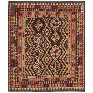 Handmade Herat Oriental Afghan Wool Kilim - 5'4 x 6'2 (Afghanistan)