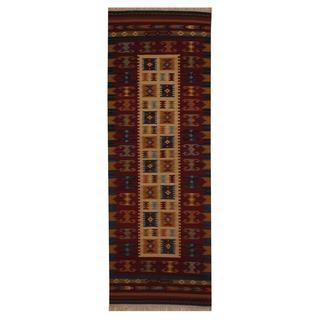 Herat Oriental Indo Hand-woven Turkish Wool Kilim Runner (2'6 x 8')
