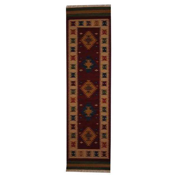 Herat Oriental Indo Hand-woven Turkish Wool Kilim Runner (2'6 x 10')