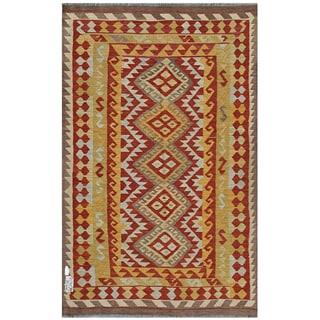 Herat Oriental Afghan Hand-woven Kilim Rust/ Gold Wool Rug (3'11 x 6'7)