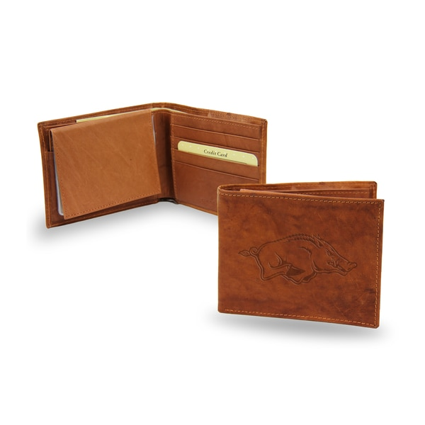 NCAA Arkansas Razorbacks Leather Embossed Bi-fold Wallet