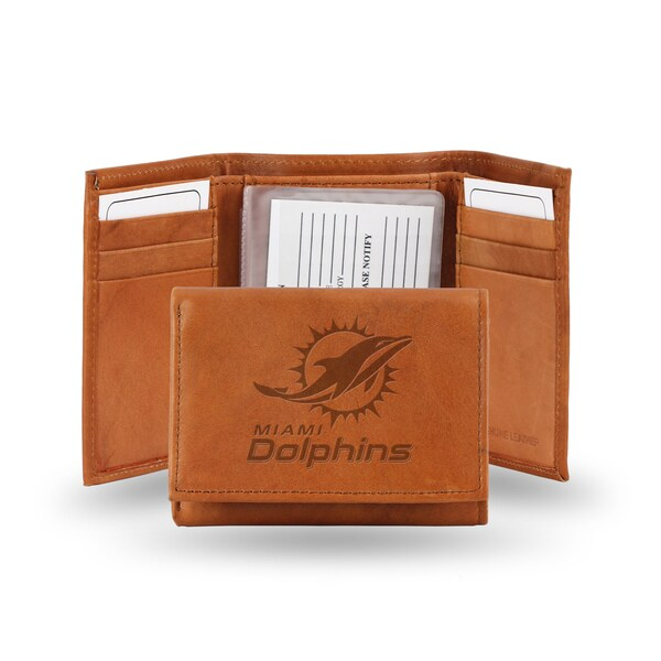 Miami Dolphins Leather Embossed Tri-fold Wallet